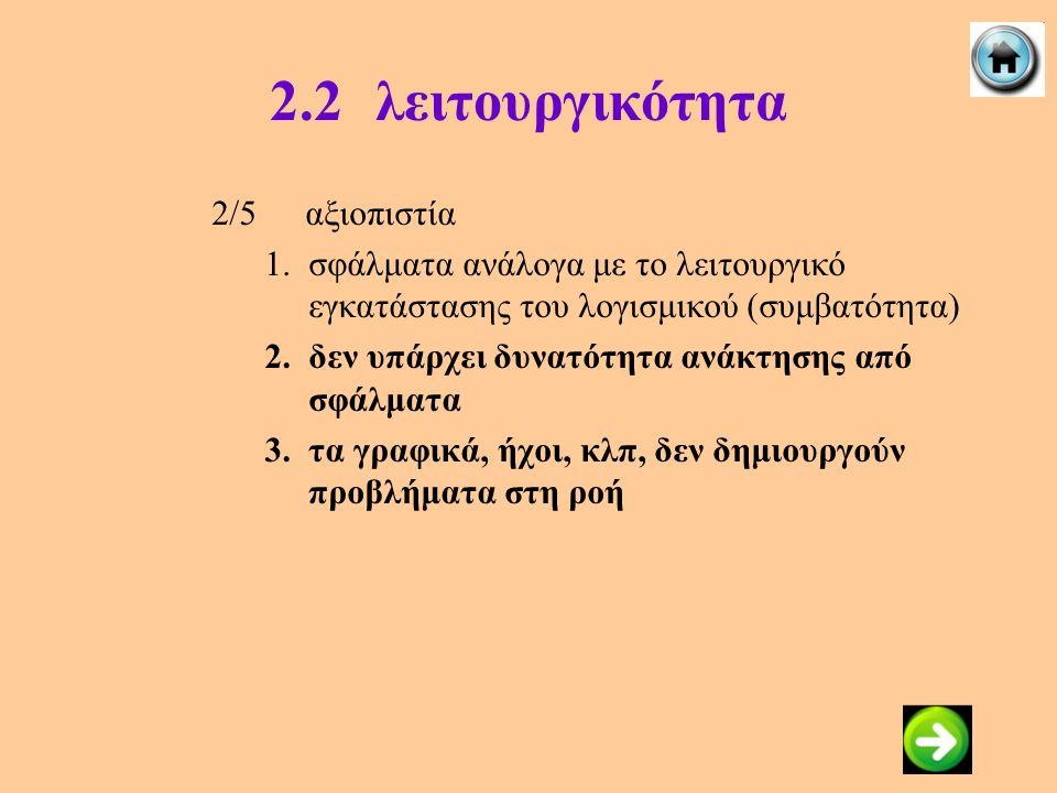 2.2λειτουργικότητα 2/5αξιοπιστία 1.σφάλματα ανάλογα με το λειτουργικό εγκατάστασης του λογισμικού (συμβατότητα) 2.δεν υπάρχει δυνατότητα ανάκτησης από