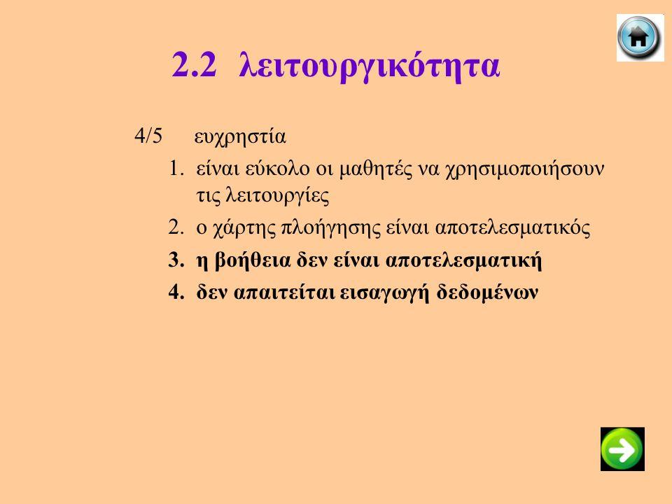 2.2λειτουργικότητα 4/5ευχρηστία 1.είναι εύκολο οι μαθητές να χρησιμοποιήσουν τις λειτουργίες 2.ο χάρτης πλοήγησης είναι αποτελεσματικός 3.η βοήθεια δε