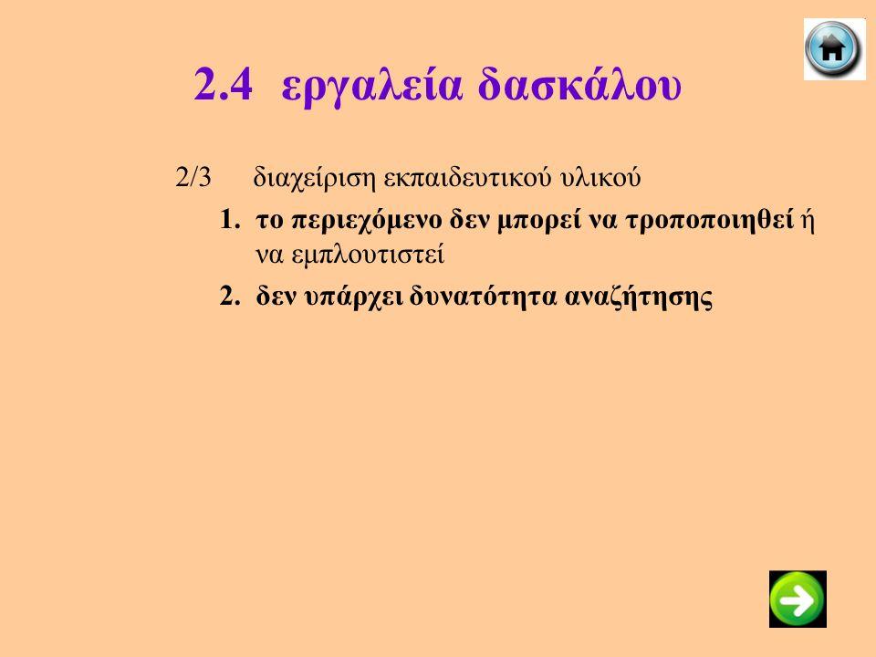 2.4εργαλεία δασκάλου 2/3διαχείριση εκπαιδευτικού υλικού 1.το περιεχόμενο δεν μπορεί να τροποποιηθεί ή να εμπλουτιστεί 2.δεν υπάρχει δυνατότητα αναζήτη