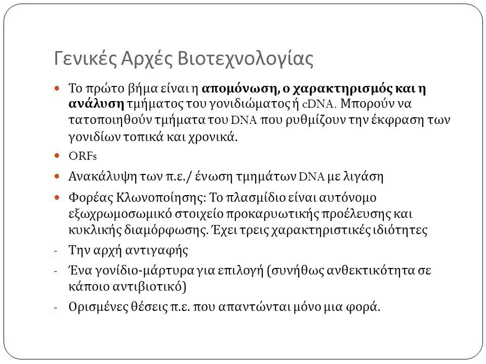Γενικές Αρχές Βιοτεχνολογίας Το πρώτο βήμα είναι η απομόνωση, ο χαρακτηρισμός και η ανάλυση τμήματος του γονιδιώματος ή cDNA.