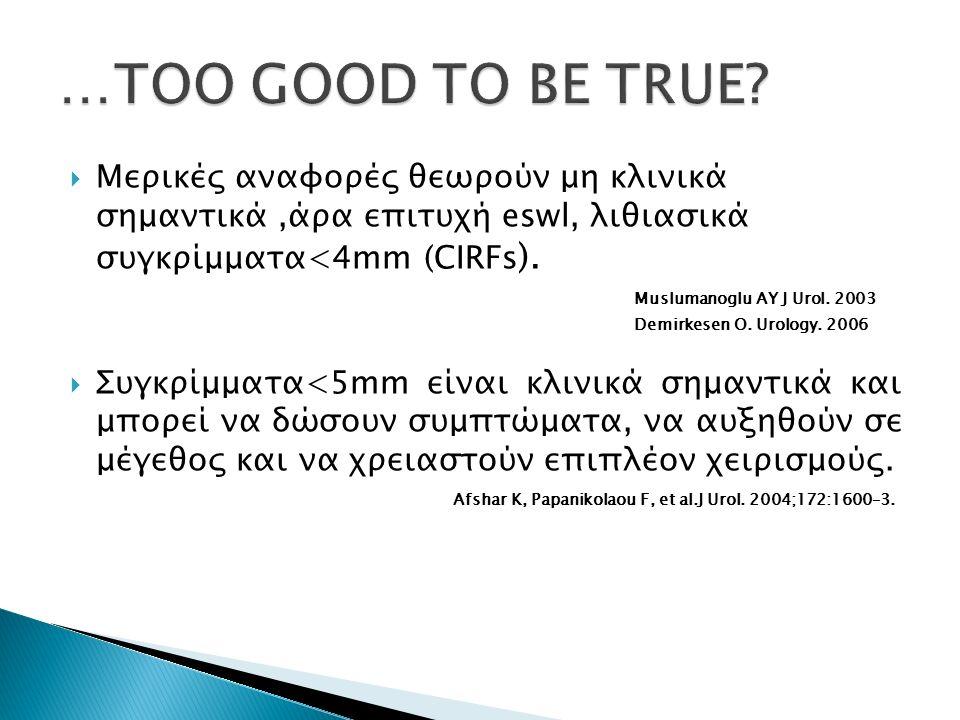  Μερικές αναφορές θεωρούν μη κλινικά σημαντικά,άρα επιτυχή eswl, λιθιασικά συγκρίμματα<4mm (CIRFs ). Muslumanoglu AY J Urol. 2003 Demirkesen O. Urolo