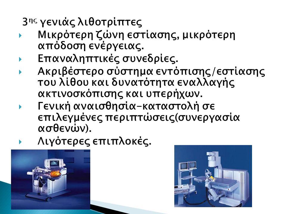  Κλινικά μάλλον ασήμαντες επιπλοκές Αιματουρία Πόνος Λοιμώξεις ουροποιητικού 8% Λιθιασική αλυσίδα 5,5% Δερματική εκχύμωση 1%  Περισσότερο σημαντικές επιπλοκές Υποκάψιο αιμάτωμα Κωλικός Σηψαιμία  Πολύ σπάνιες επιπλοκές Αιμάτωμα ήπατος Παγκρεατίτιδα Ουρητηροεντερικό συρίγγιο Διάτρηση γαστρεντερικού  Πιθανές (πολύ σπάνιες) μακροχρόνιες επιπτώσεις Λειτουργικές διαταραχές των νεφρών Υπέρταση Νεφρική σκλήρυνση