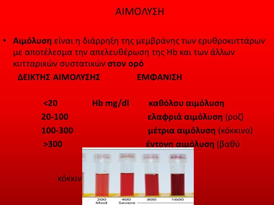 ΑΙΜΟΛΥΣΗ Αιμόλυση είναι η διάρρηξη της μεμβράνης των ερυθροκυττάρων με αποτέλεσμα την απελευθέρωση της Hb και των άλλων κυτταρικών συστατικών στον ορό ΔΕΙΚΤΗΣ ΑΙΜΟΛΥΣΗΣ ΕΜΦΑΝΙΣΗ <20 Ηb mg/dl καθόλου αιμόλυση 20-100 ελαφριά αιμόλυση (ροζ) 100-300 μέτρια αιμόλυση (κόκκινο) >300 έντονη αιμόλυση (βαθύ κόκκινο)