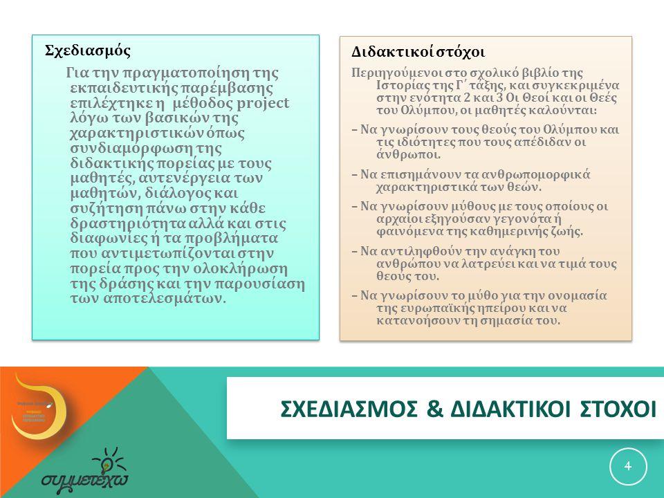 ΣΧΕΔΙΑΣΜΟΣ & ΔΙΔΑΚΤΙΚΟΙ ΣΤΟΧΟΙ Σχεδιασμός Για την πραγματοποίηση της εκπαιδευτικής παρέμβασης επιλέχτηκε η μέθοδος project λόγω των βασικών της χαρακτηριστικών όπως συνδιαμόρφωση της διδακτικής πορείας με τους μαθητές, αυτενέργεια των μαθητών, διάλογος και συζήτηση πάνω στην κάθε δραστηριότητα αλλά και στις διαφωνίες ή τα προβλήματα που αντιμετωπίζονται στην πορεία προς την ολοκλήρωση της δράσης και την παρουσίαση των αποτελεσμάτων.