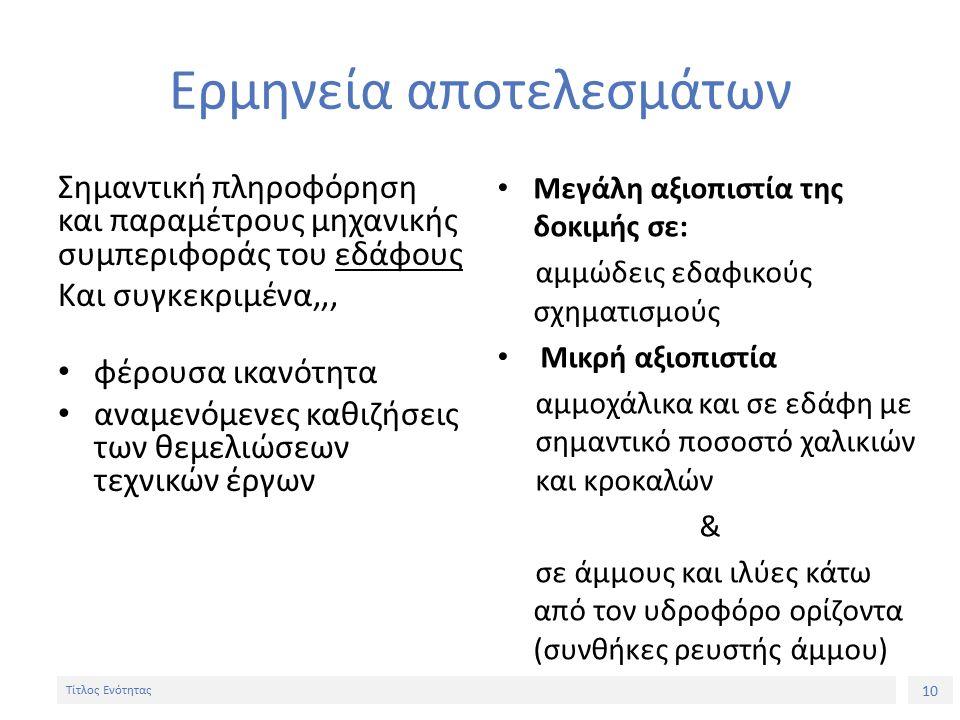 10 Τίτλος Ενότητας Ερμηνεία αποτελεσμάτων Σημαντική πληροφόρηση και παραμέτρους μηχανικής συμπεριφοράς του εδάφους Και συγκεκριμένα,,, φέρουσα ικανότητα αναμενόμενες καθιζήσεις των θεμελιώσεων τεχνικών έργων Μεγάλη αξιοπιστία της δοκιμής σε: αμμώδεις εδαφικούς σχηματισμούς Μικρή αξιοπιστία αμμοχάλικα και σε εδάφη με σημαντικό ποσοστό χαλικιών και κροκαλών & σε άμμους και ιλύες κάτω από τον υδροφόρο ορίζοντα (συνθήκες ρευστής άμμου)
