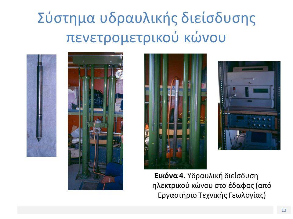 13 Σύστημα υδραυλικής διείσδυσης πενετρομετρικού κώνου Εικόνα 4. Υδραυλική διείσδυση ηλεκτρικού κώνου στο έδαφος (από Εργαστήριο Τεχνικής Γεωλογίας)