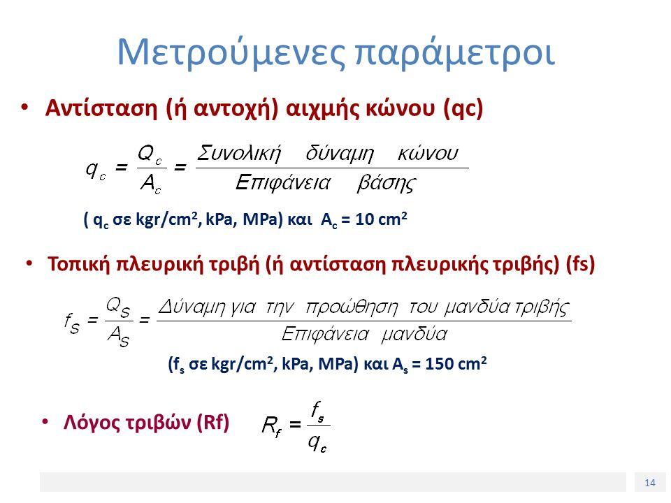 14 Μετρούμενες παράμετροι Αντίσταση (ή αντοχή) αιχμής κώνου (qc) Τοπική πλευρική τριβή (ή αντίσταση πλευρικής τριβής) (fs) ( q c σε kgr/cm 2, kPa, MPa) και Α c = 10 cm 2 (f s σε kgr/cm 2, kPa, MPa) και Α s = 150 cm 2 Λόγος τριβών (Rf)