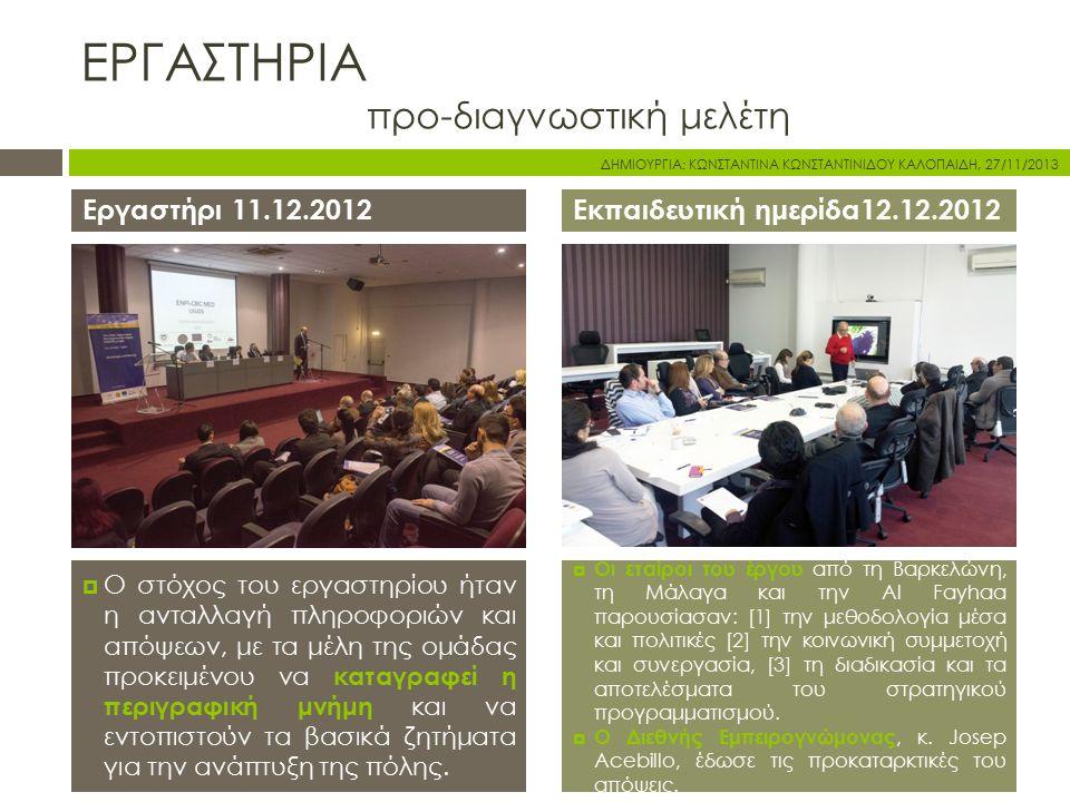 ΕΡΓΑΣΤΗΡΙΑ προ-διαγνωστική μελέτη Εργαστήρι 11.12.2012Εκπαιδευτική ημερίδα12.12.2012  Ο στόχος του εργαστηρίου ήταν η ανταλλαγή πληροφοριών και απόψεων, με τα μέλη της ομάδας προκειμένου να καταγραφεί η περιγραφική μνήμη και να εντοπιστούν τα βασικά ζητήματα για την ανάπτυξη της πόλης.