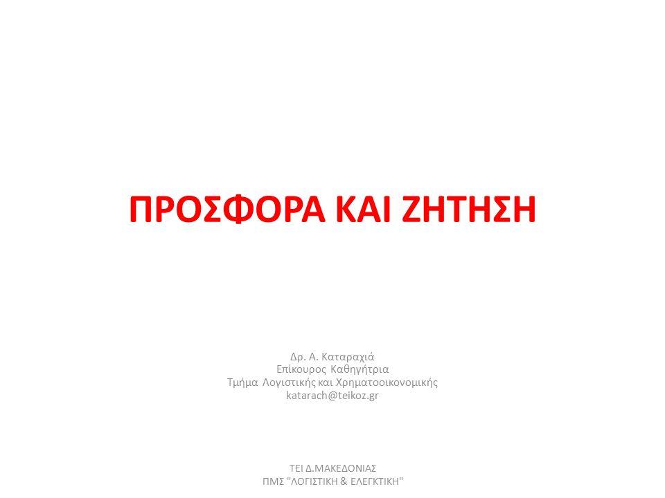 Πίνακας ζήτησης και καµπύλη ζήτησης (2) ΤΕΙ Δ.ΜΑΚΕΔΟΝΙΑΣ ΠΜΣ ΛΟΓΙΣΤΙΚΗ & ΕΛΕΓΚΤΙΚΗ