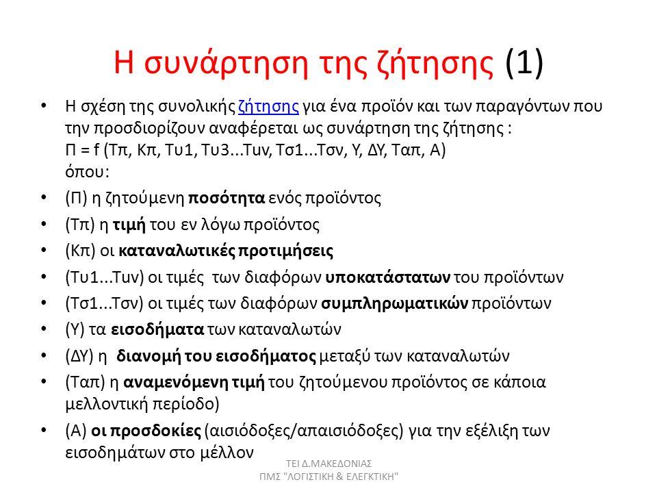 Η συνάρτηση της ζήτησης (1) Η σχέση της συνολικής ζήτησης για ένα προϊόν και των παραγόντων που την προσδιορίζουν αναφέρεται ως συνάρτηση της ζήτησης : Π = f (Τπ, Κπ, Τυ1, Τυ3...Τuv, Τσ1...Τσν, Υ, ΔΥ, Ταπ, Α) όπου:ζήτησης (Π) η ζητούμενη ποσότητα ενός προϊόντος (Τπ) η τιμή του εν λόγω προϊόντος (Κπ) οι καταναλωτικές προτιμήσεις (Τυ1...Τuv) οι τιμές των διαφόρων υποκατάστατων του προϊόντων (Τσ1...Τσν) οι τιμές των διαφόρων συμπληρωματικών προϊόντων (Υ) τα εισοδήματα των καταναλωτών (ΔΥ) η διανομή του εισοδήματος μεταξύ των καταναλωτών (Ταπ) η αναμενόμενη τιμή του ζητούμενου προϊόντος σε κάποια μελλοντική περίοδο) (Α) οι προσδοκίες (αισιόδοξες/απαισιόδοξες) για την εξέλιξη των εισοδημάτων στο μέλλον ΤΕΙ Δ.ΜΑΚΕΔΟΝΙΑΣ ΠΜΣ ΛΟΓΙΣΤΙΚΗ & ΕΛΕΓΚΤΙΚΗ