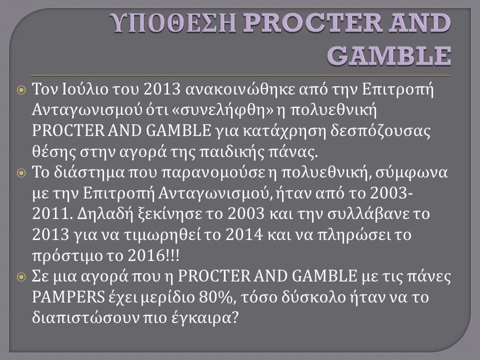  Τον Ιούλιο του 2013 ανακοινώθηκε από την Επιτροπή Ανταγωνισμού ότι « συνελήφθη » η πολυεθνική PROCTER AND GAMBLE για κατάχρηση δεσπόζουσας θέσης στην αγορά της παιδικής πάνας.