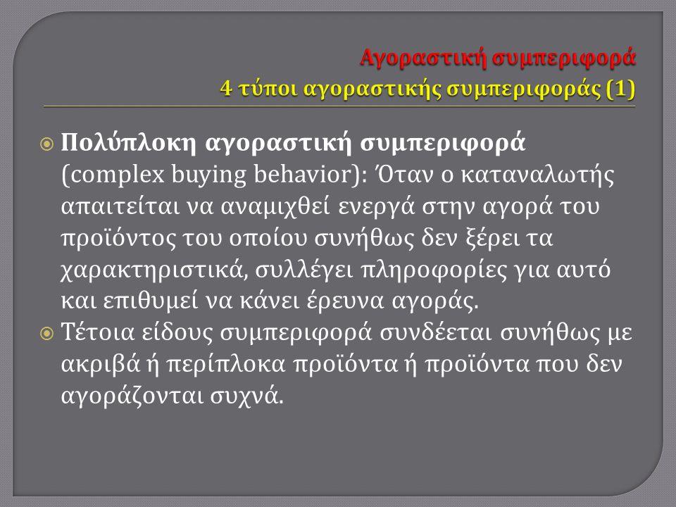  Πολύπλοκη αγοραστική συμπεριφορά (complex buying behavior): Όταν ο καταναλωτής απαιτείται να αναμιχθεί ενεργά στην αγορά του προϊόντος του οποίου συνήθως δεν ξέρει τα χαρακτηριστικά, συλλέγει πληροφορίες για αυτό και επιθυμεί να κάνει έρευνα αγοράς.