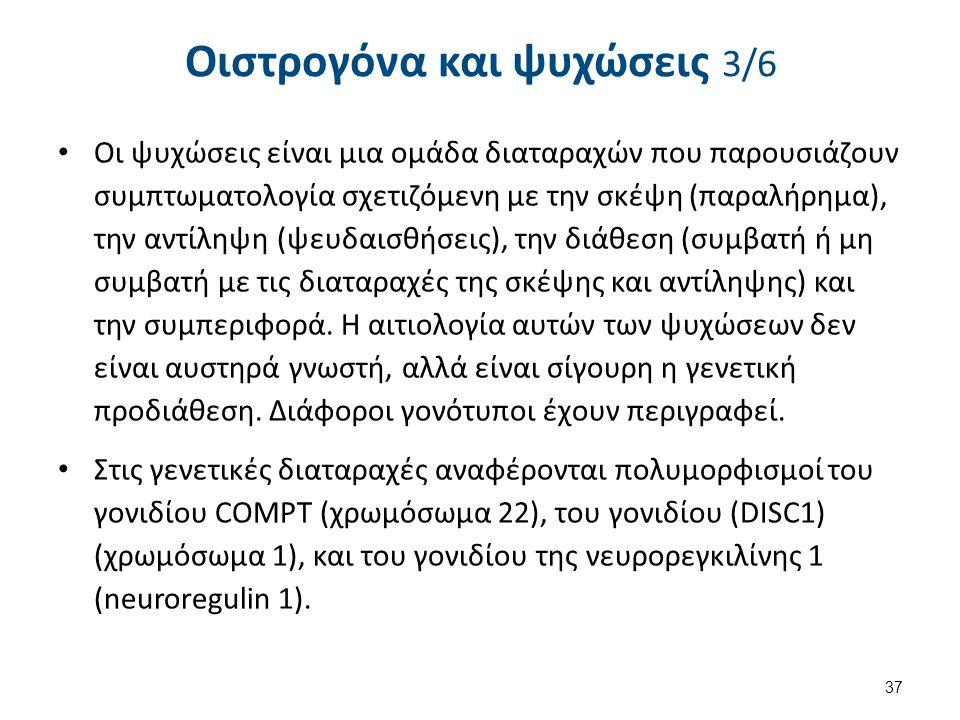 Οιστρογόνα και ψυχώσεις 3/6 Οι ψυχώσεις είναι μια ομάδα διαταραχών που παρουσιάζουν συμπτωματολογία σχετιζόμενη με την σκέψη (παραλήρημα), την αντίληψη (ψευδαισθήσεις), την διάθεση (συμβατή ή μη συμβατή με τις διαταραχές της σκέψης και αντίληψης) και την συμπεριφορά.