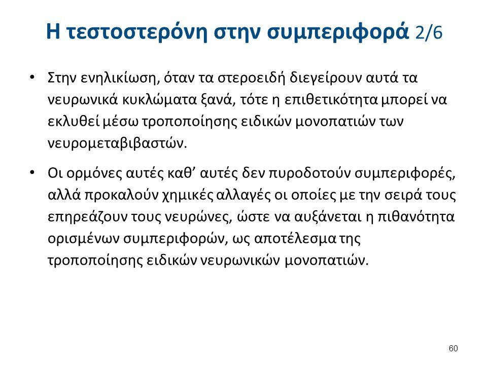 Η τεστοστερόνη στην συμπεριφορά 2/6 Στην ενηλικίωση, όταν τα στεροειδή διεγείρουν αυτά τα νευρωνικά κυκλώματα ξανά, τότε η επιθετικότητα μπορεί να εκλυθεί μέσω τροποποίησης ειδικών μονοπατιών των νευρομεταβιβαστών.