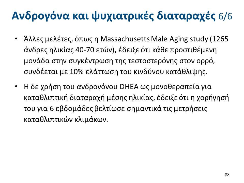 Ανδρογόνα και ψυχιατρικές διαταραχές 6/6 Άλλες μελέτες, όπως η Massachusetts Male Aging study (1265 άνδρες ηλικίας 40-70 ετών), έδειξε ότι κάθε προστιθέμενη μονάδα στην συγκέντρωση της τεστοστερόνης στον ορρό, συνδέεται με 10% ελάττωση του κινδύνου κατάθλιψης.