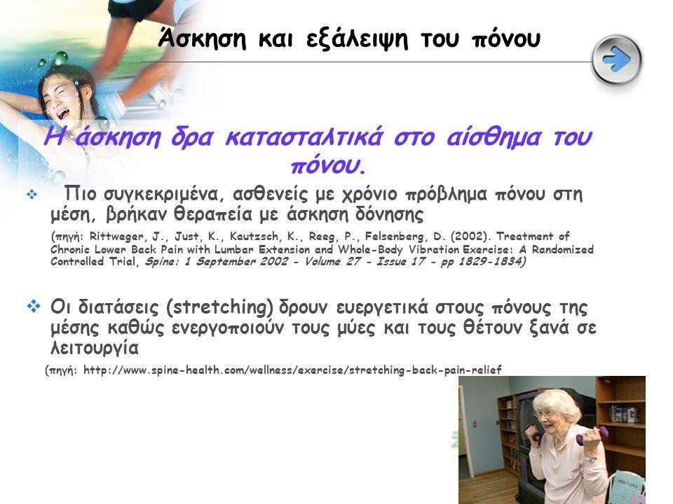 Άσκηση και εξάλειψη του πόνου Η άσκηση δρα κατασταλτικά στο αίσθημα του πόνου.  Πιο συγκεκριμένα, ασθενείς με χρόνιο πρόβλημα πόνου στη μέση, βρήκαν