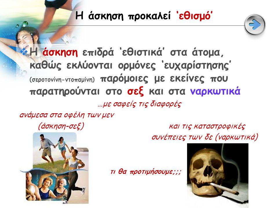 Η άσκηση προκαλεί 'εθισμό'  Η άσκηση επιδρά 'εθιστικά' στα άτομα, καθώς εκλύονται ορμόνες 'ευχαρίστησης' (σεροτονίνη-ντοπαμίνη) παρόμοιες με εκείνες