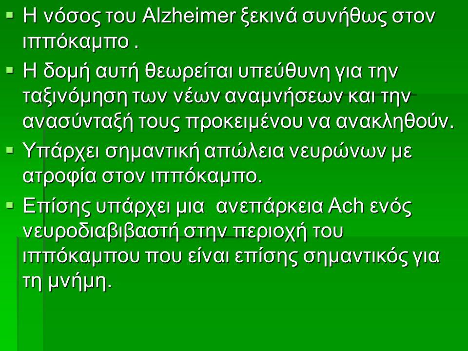  Η νόσος του Alzheimer ξεκινά συνήθως στον ιππόκαμπο.  Η δομή αυτή θεωρείται υπεύθυνη για την ταξινόμηση των νέων αναμνήσεων και την ανασύνταξή τους