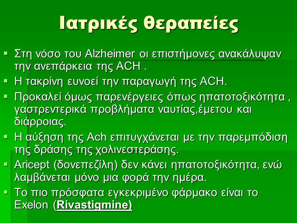 Ιατρικές θεραπείες  Στη νόσο του Alzheimer οι επιστήμονες ανακάλυψαν την ανεπάρκεια της ACH.  Η τακρίνη ευνοεί την παραγωγή της ACH.  Προκαλεί όμως