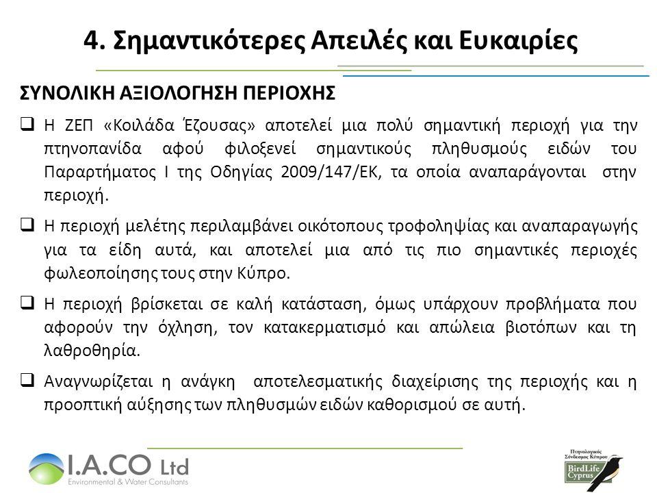ΣΥΝΟΛΙΚΗ ΑΞΙΟΛΟΓΗΣΗ ΠΕΡΙΟΧΗΣ  Η ΖΕΠ «Κοιλάδα Έζουσας» αποτελεί μια πολύ σημαντική περιοχή για την πτηνοπανίδα αφού φιλοξενεί σημαντικούς πληθυσμούς ειδών του Παραρτήματος Ι της Οδηγίας 2009/147/ΕΚ, τα οποία αναπαράγονται στην περιοχή.