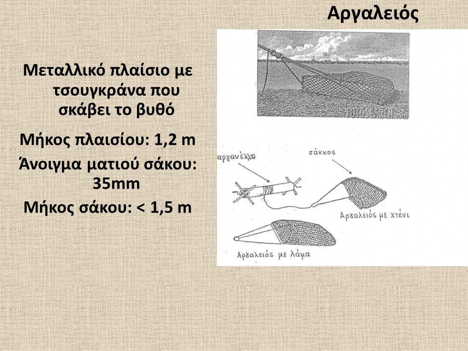 Αργαλειός Μεταλλικό πλαίσιο με τσουγκράνα που σκάβει το βυθό Μήκος πλαισίου: 1,2 m Άνοιγμα ματιού σάκου: 35mm Μήκος σάκου: < 1,5 m