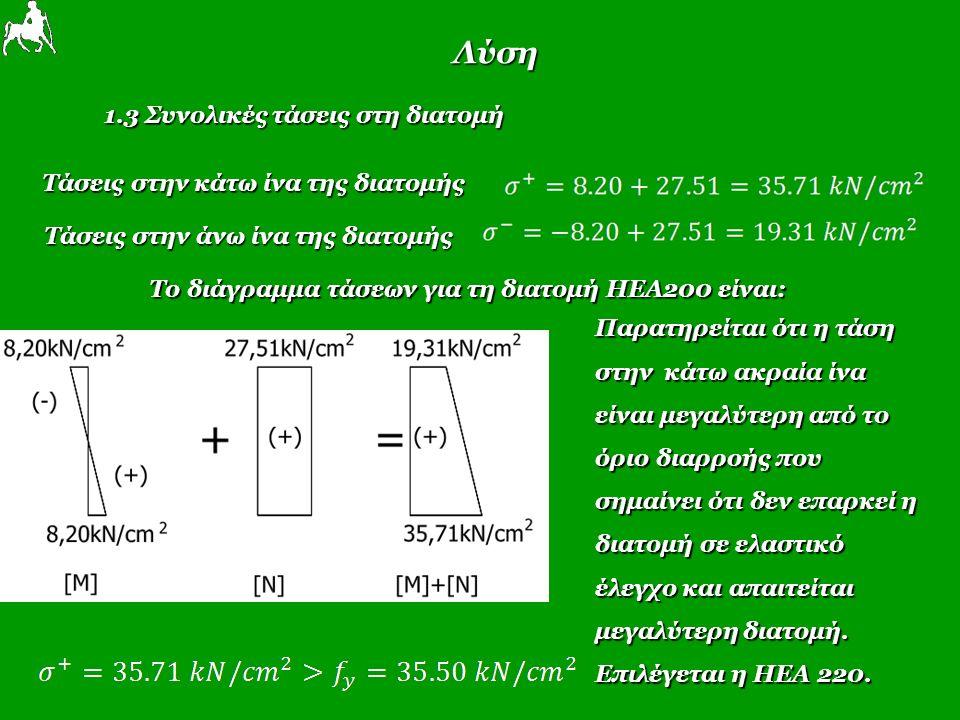 Λύση 1.3 Συνολικές τάσεις στη διατομή Τάσεις στην κάτω ίνα της διατομής Τάσεις στην κάτω ίνα της διατομής Τάσεις στην άνω ίνα της διατομής Το διάγραμμα τάσεων για τη διατομή ΗΕΑ200 είναι: Παρατηρείται ότι η τάση στην κάτω ακραία ίνα είναι μεγαλύτερη από το όριο διαρροής που σημαίνει ότι δεν επαρκεί η διατομή σε ελαστικό έλεγχο και απαιτείται μεγαλύτερη διατομή.