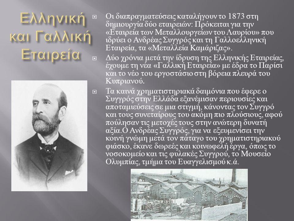  Οι διαπραγματεύσεις καταλήγουν το 1873 στη δημιουργία δύο εταιρειών : Πρόκειται για την « Εταιρεία των Μεταλλουργείων του Λαυρίου » που ιδρύει ο Ανδρέας Συγγρός και τη Γαλλοελληνική Εταιρεία, τα « Μεταλλεία Καμάριζας ».