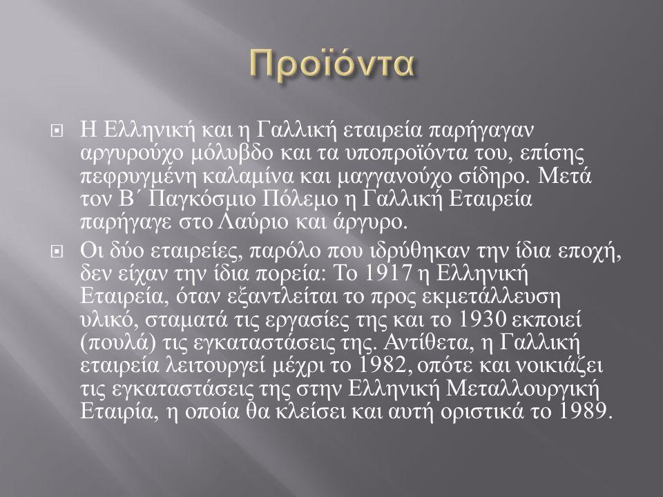  Η Ελληνική και η Γαλλική εταιρεία παρήγαγαν αργυρούχο μόλυβδο και τα υποπροϊόντα του, επίσης πεφρυγμένη καλαμίνα και μαγγανούχο σίδηρο.