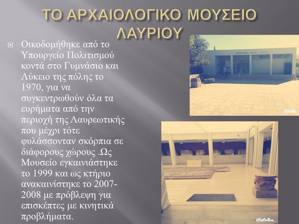  Οικοδομήθηκε από το Υπουργείο Πολιτισμού κοντά στο Γυμνάσιο και Λύκειο της πόλης το 1970, για να συγκεντρωθούν όλα τα ευρήματα από την περιοχή της Λαυρεωτικής που μέχρι τότε φυλάσσονταν σκόρπια σε διάφορους χώρους.