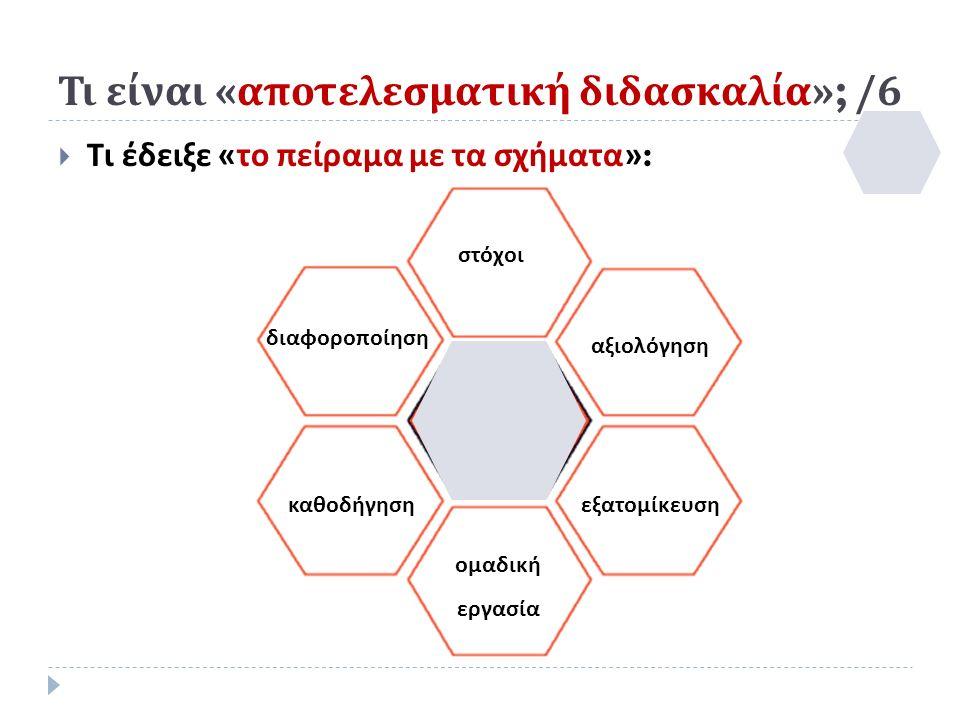 Τι είναι « αποτελεσματική διδασκαλία »; /6  Τι έδειξε « το πείραμα με τα σχήματα »: στόχοι ομαδική εργασία καθοδήγησηεξατομίκευση διαφοροποίηση αξιολόγηση