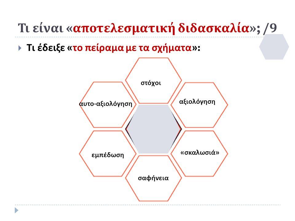 Τι είναι « αποτελεσματική διδασκαλία »; /9  Τι έδειξε « το πείραμα με τα σχήματα »: στόχοι σαφήνεια εμπέδωση «σκαλωσιά» αυτο-αξιολόγηση αξιολόγηση