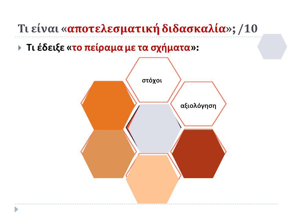 στόχοι αξιολόγηση Τι είναι « αποτελεσματική διδασκαλία »; /10  Τι έδειξε « το πείραμα με τα σχήματα »: