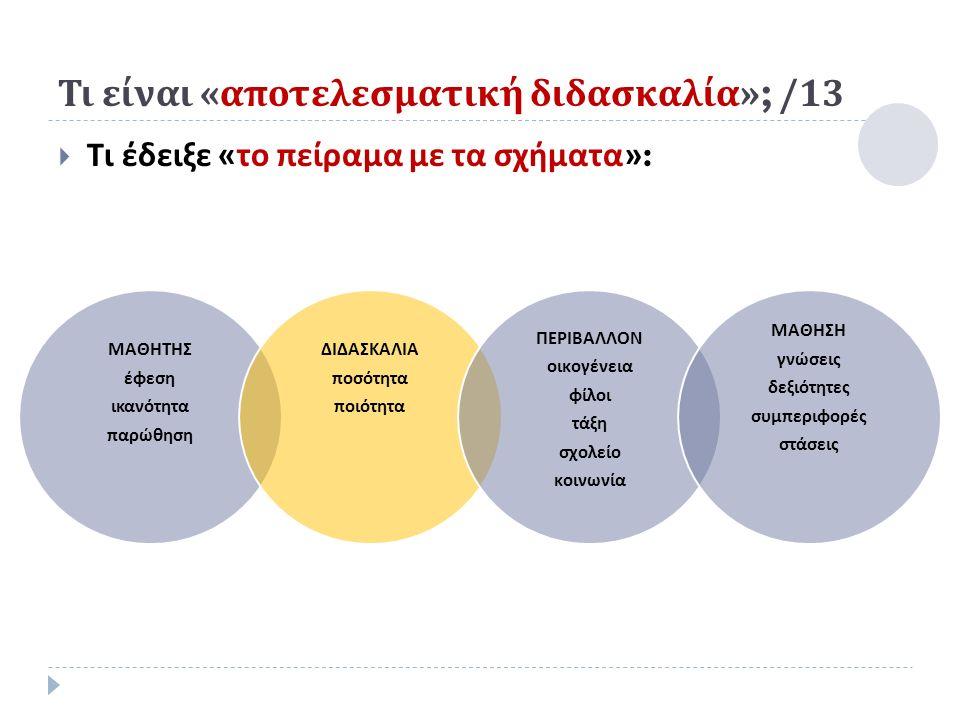 Τι είναι « αποτελεσματική διδασκαλία »; /13  Τι έδειξε « το πείραμα με τα σχήματα »: ΜΑΘΗΤΗΣ έφεση ικανότητα π αρώθηση ΔΙΔΑΣΚΑΛΙΑ π οσότητα π οιότητα ΠΕΡΙΒΑΛΛΟΝ οικογένεια φίλοι τάξη σχολείο κοινωνία ΜΑΘΗΣΗ γνώσεις δεξιότητες συμ π εριφορές στάσεις