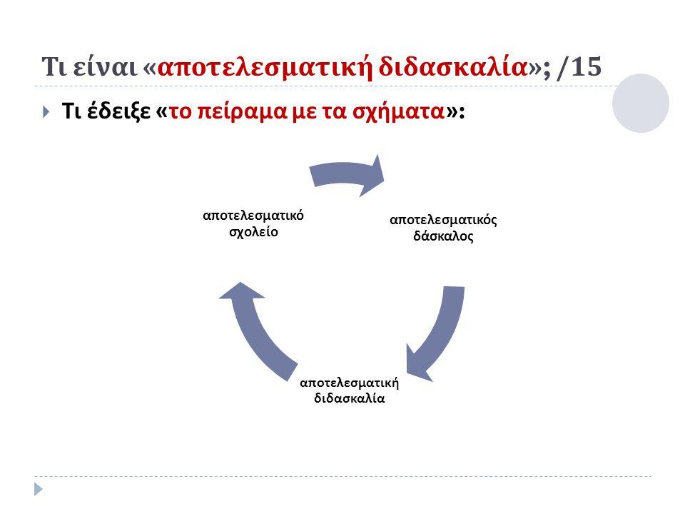 Τι είναι « αποτελεσματική διδασκαλία »; /15  Τι έδειξε « το πείραμα με τα σχήματα »: α π οτελεσματικός δάσκαλος α π οτελεσματική διδασκαλία α π οτελεσματικό σχολείο
