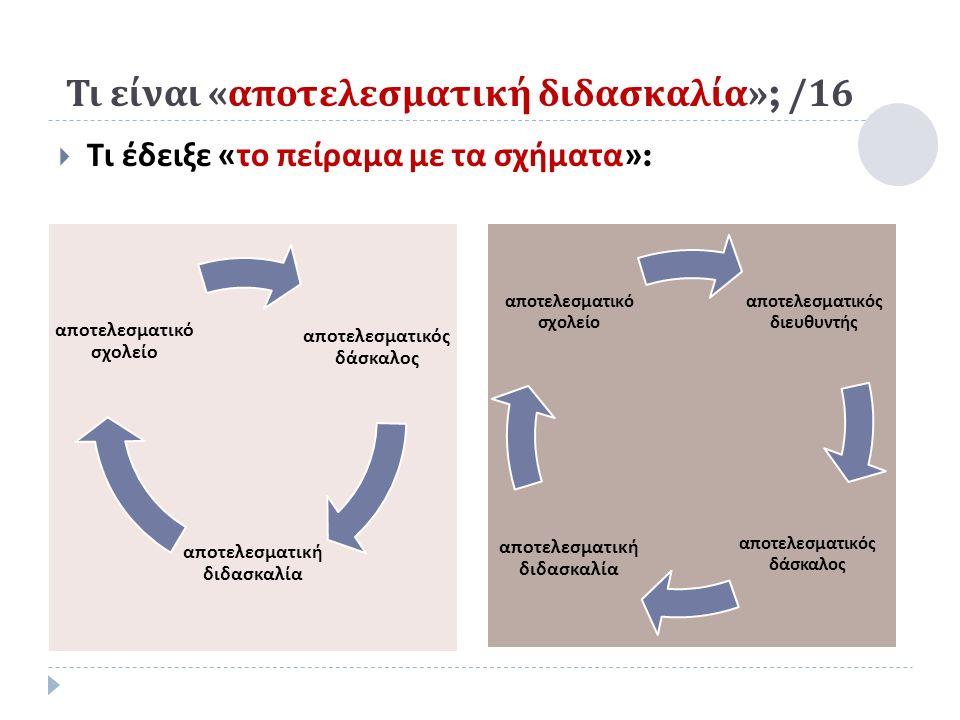 Τι είναι « αποτελεσματική διδασκαλία »; /16  Τι έδειξε « το πείραμα με τα σχήματα »: α π οτελεσματικός δάσκαλος α π οτελεσματική διδασκαλία α π οτελεσματικό σχολείο α π οτελεσματικός διευθυντής α π οτελεσματικός δάσκαλος α π οτελεσματική διδασκαλία α π οτελεσματικό σχολείο