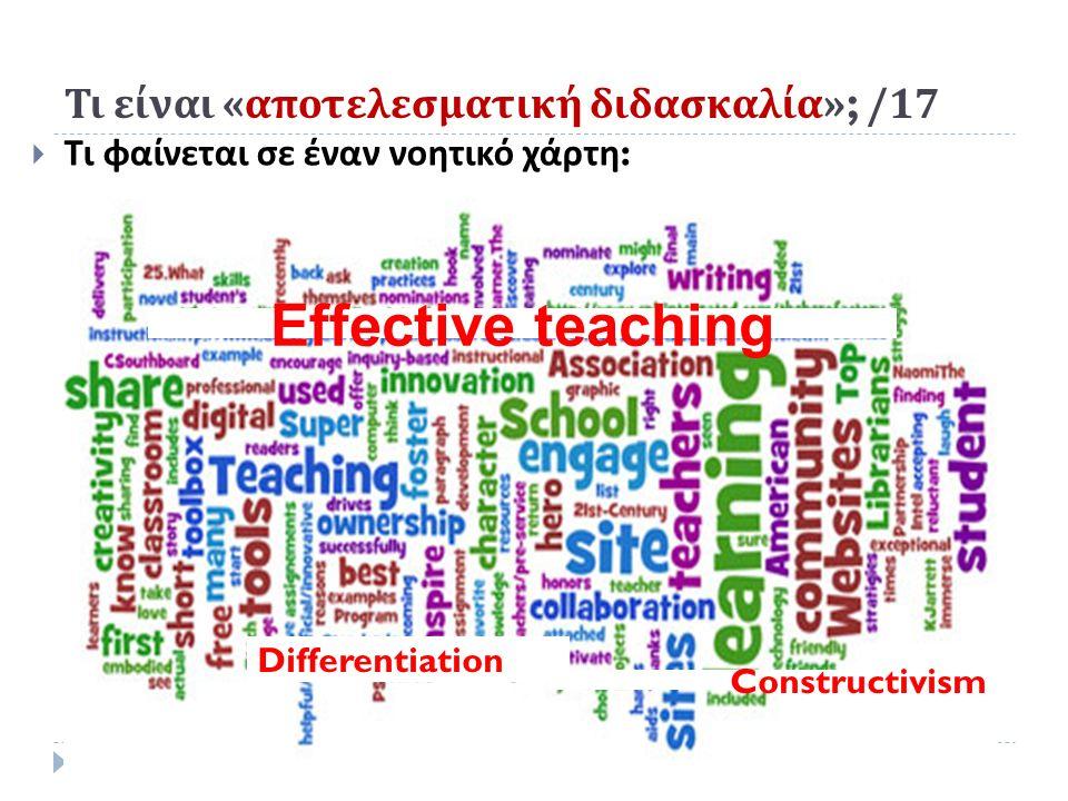Τι είναι « αποτελεσματική διδασκαλία »; /17  Τι φαίνεται σε έναν νοητικό χάρτη : Effective teaching Constructivism Differentiation