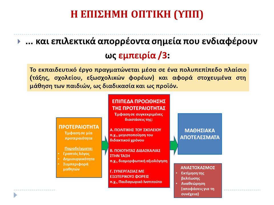 Η ΕΠΙΣΗΜΗ ΟΠΤΙΚΗ ( ΥΠΠ ) Το εκπαιδευτικό έργο πραγματώνεται μέσα σε ένα πολυπεπίπεδο πλαίσιο ( τάξης, σχολείου, εξωσχολικών φορέων ) και αφορά στοχευμένα στη μάθηση των παιδιών, ως διαδικασία και ως προϊόν.