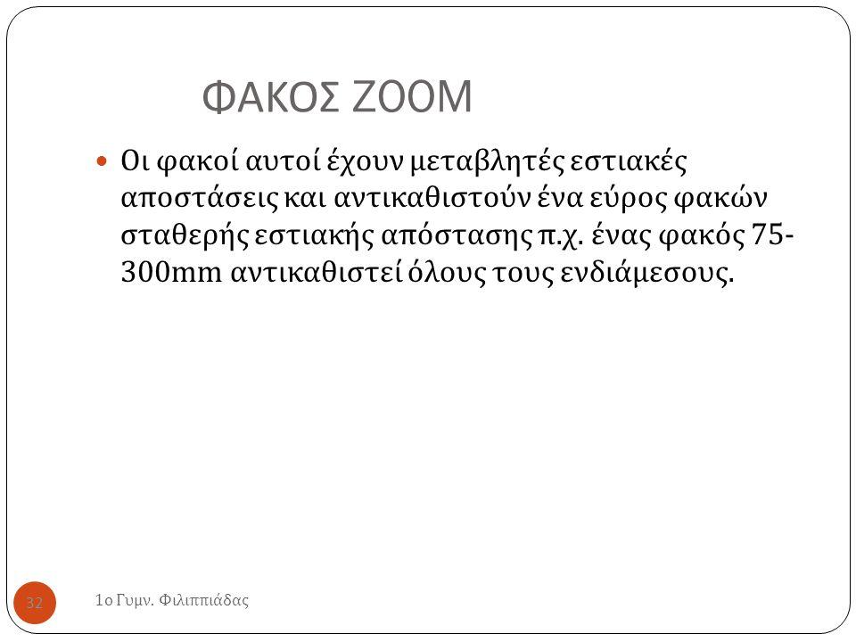 ΦΑΚΟΣ ZOOM 1 ο Γυμν. Φιλιππιάδας 32 Οι φακοί αυτοί έχουν μεταβλητές εστιακές αποστάσεις και αντικαθιστούν ένα εύρος φακών σταθερής εστιακής απόστασης