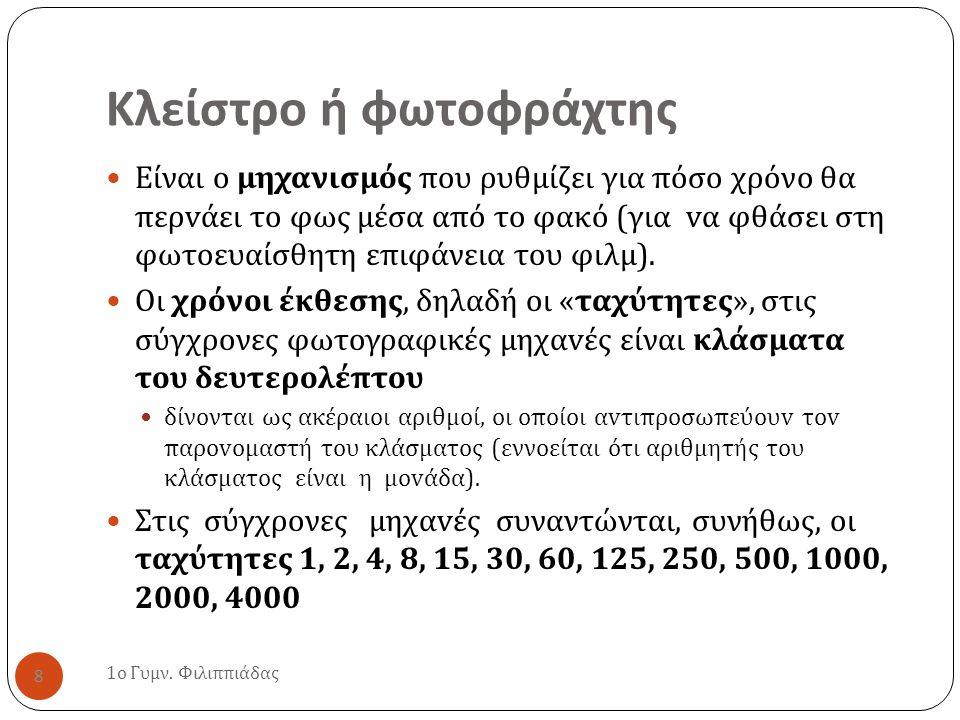 Κλείστρο ή φωτοφράχτης 1 ο Γυμν. Φιλιππιάδας 8 Είναι o μηχανισμός που ρυθμίζει για πόσο χρόνο θα περ v άει τ o φως µ έσα από τ o φακό ( για v α φθάσει