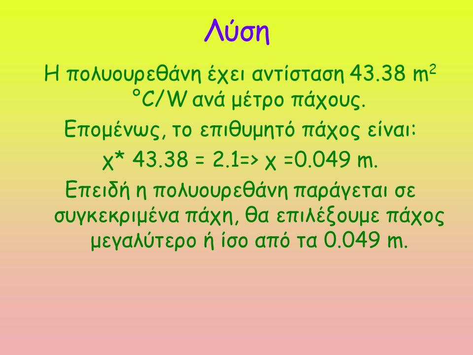 Η πολυουρεθάνη έχει αντίσταση 43.38 m 2 °C/W ανά μέτρο πάχους.