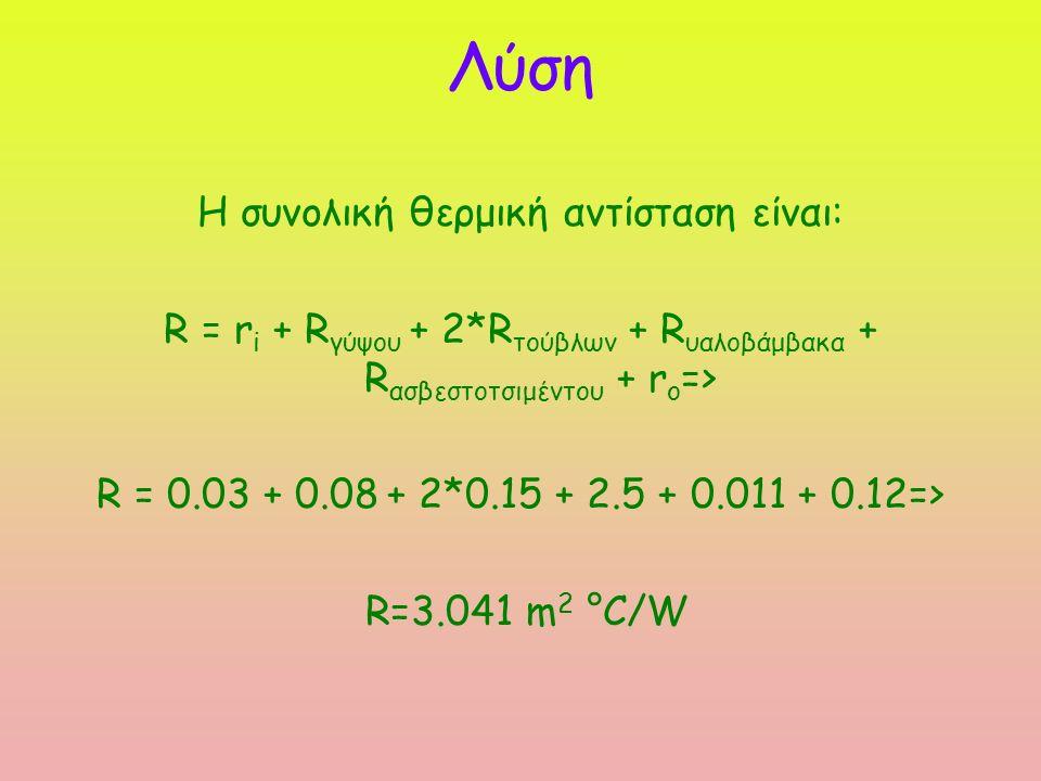 Λύση Η συνολική θερμική αντίσταση είναι: R = r i + R γύψου + 2*R τούβλων + R υαλοβάμβακα + R ασβεστοτσιμέντου + r o => R = 0.03 + 0.08 + 2*0.15 + 2.5 + 0.011 + 0.12=> R=3.041 m 2 °C/W