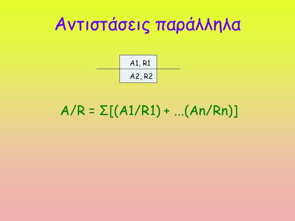 Αντιστάσεις παράλληλα A/R = Σ[(Α1/R1) +...(Αn/Rn)] A1, R1 A2, R2