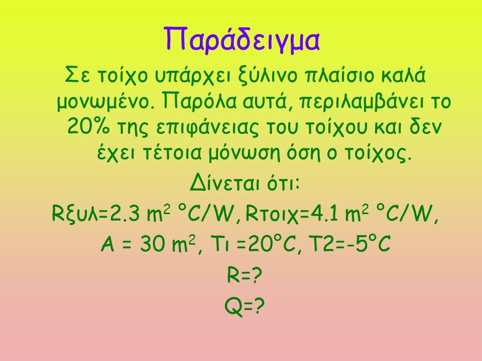 Rξυλ=2.3 m 2 °C/W Rτοιχ=4.1 m 2 °C/W