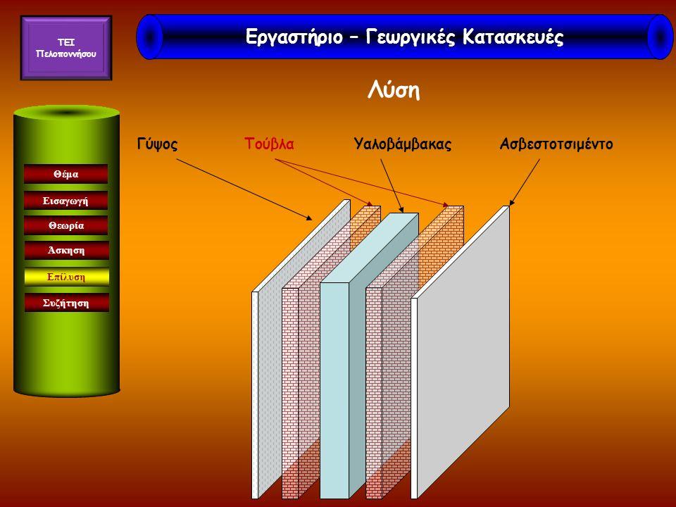 Εισαγωγή Θεωρία Άσκηση Επίλυση Συζήτηση Θέμα Γύψος Τούβλα Υαλοβάμβακας Ασβεστοτσιμέντο Λύση Εργαστήριο – Γεωργικές Κατασκευές TEI Πελοποννήσου