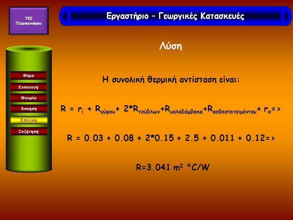 Εισαγωγή Θεωρία Άσκηση Επίλυση Συζήτηση Θέμα Λύση Η συνολική θερμική αντίσταση είναι: R = r i + R γύψου + 2*R τούβλων +R υαλοβάμβακα +R ασβεστοτσιμέντ