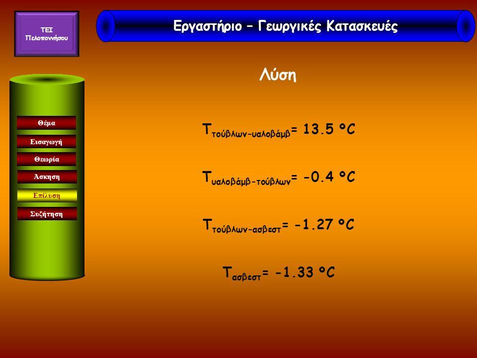 Εισαγωγή Θεωρία Άσκηση Επίλυση Συζήτηση Θέμα Λύση T τούβλων-υαλοβάμβ = 13.5 ºC T υαλοβάμβ-τούβλων = -0.4 ºC T τούβλων-ασβεστ = -1.27 ºC T ασβεστ = -1.