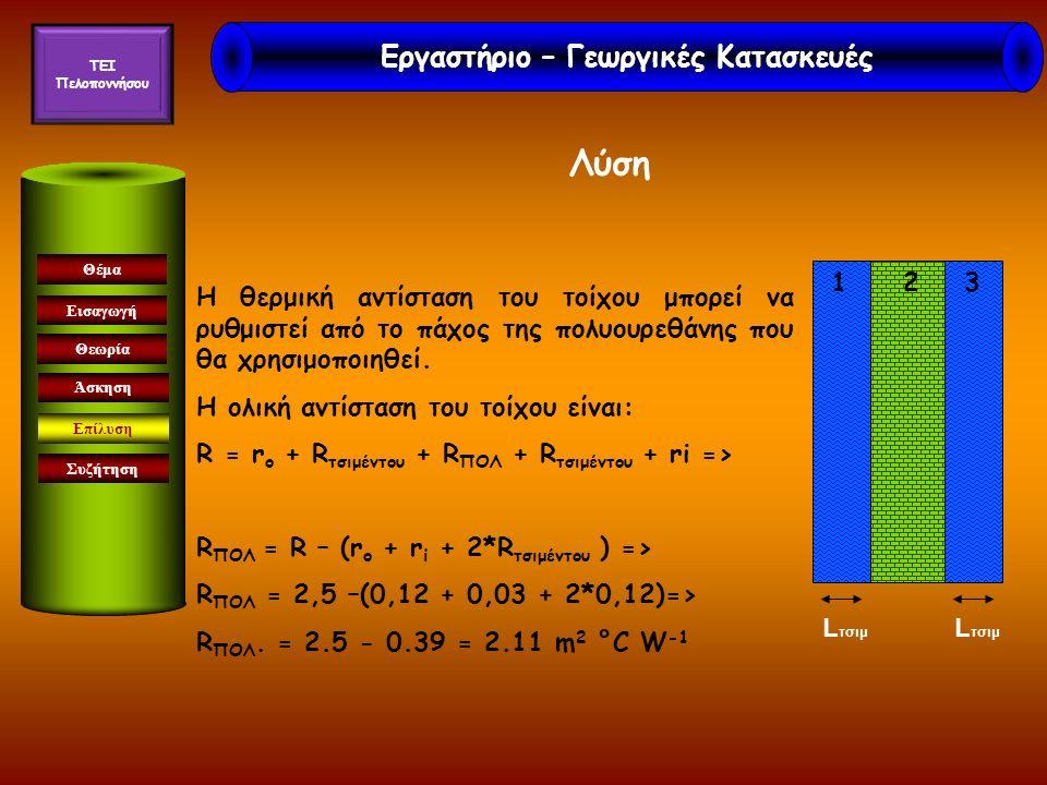 Εισαγωγή Θεωρία Άσκηση Επίλυση Συζήτηση Θέμα Λύση Η συνολική θερμική αντίσταση είναι: R = r i + R γύψου + 2*R τούβλων +R υαλοβάμβακα +R ασβεστοτσιμέντου + r o => R = 0.03 + 0.08 + 2*0.15 + 2.5 + 0.011 + 0.12=> R=3.041 m 2 °C/W Εργαστήριο – Γεωργικές Κατασκευές TEI Πελοποννήσου