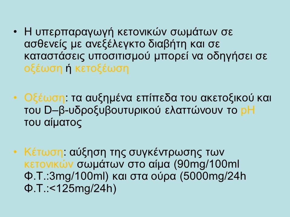 Η υπερπαραγωγή κετονικών σωμάτων σε ασθενείς με ανεξέλεγκτο διαβήτη και σε καταστάσεις υποσιτισμού μπορεί να οδηγήσει σε οξέωση ή κετοξέωση Οξέωση: τα αυξημένα επίπεδα του ακετοξικού και του D–β-υδροξυβουτυρικού ελαττώνουν το pH του αίματος Κέτωση: αύξηση της συγκέντρωσης των κετονικών σωμάτων στο αίμα (90mg/100ml Φ.Τ.:3mg/100ml) και στα ούρα (5000mg/24h Φ.Τ.:<125mg/24h)