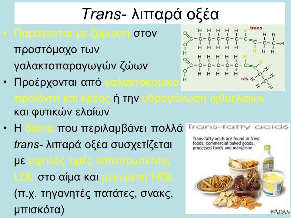Trans- λιπαρά οξέα Παράγονται με ζύμωση στον προστόμαχο των γαλακτοπαραγωγών ζώων Προέρχονται από γαλακτοκομικά προϊόντα και κρέας ή την υδρογόνωση ιχθυελαίων και φυτικών ελαίων H δίαιτα που περιλαμβάνει πολλά trans- λιπαρά οξέα συσχετίζεται με υψηλές τιμές λιποπρωτείνης LDL στο αίμα και μειωμένη HDL (π.χ.