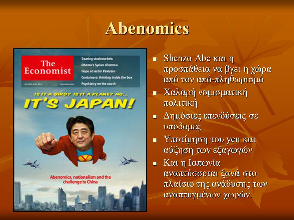 Abenomics Shenzo Abe και η προσπάθεια να βγει η χώρα από τον από-πληθωρισμό Shenzo Abe και η προσπάθεια να βγει η χώρα από τον από-πληθωρισμό Χαλαρή νομισματική πολιτική Χαλαρή νομισματική πολιτική Δημόσιες επενδύσεις σε υποδομές Δημόσιες επενδύσεις σε υποδομές Υποτίμηση του yen και αύξηση των εξαγωγών Υποτίμηση του yen και αύξηση των εξαγωγών Και η Ιαπωνία αναπτύσσεται ξανά στο πλαίσιο της ανάδυσης των αναπτυγμένων χωρών.
